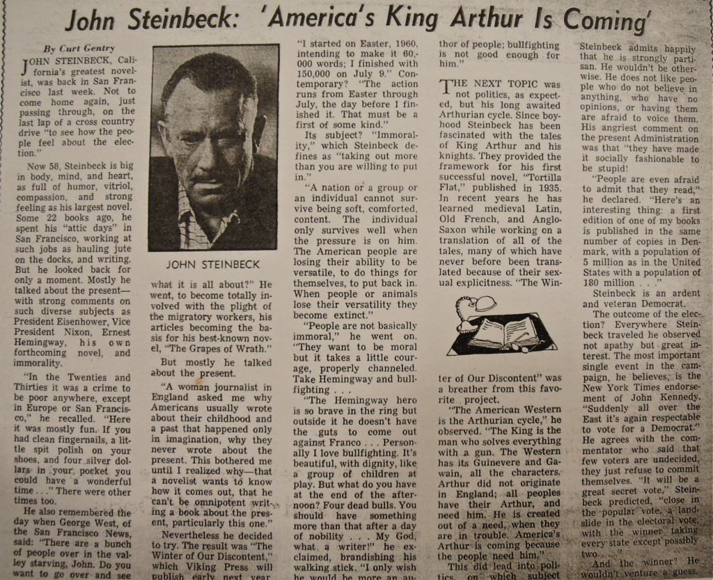 The article the late, great Curt Gentry wrote for the San Francisco Chronicle about his encounter with John Steinbeck in 1960.